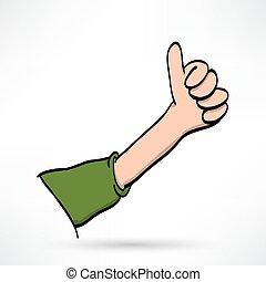 duimen, illustratie, op