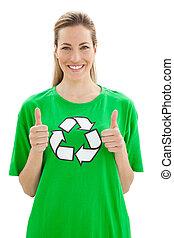 duimen, t-shirt, recyclend symbool, op, gesturing, vrouw