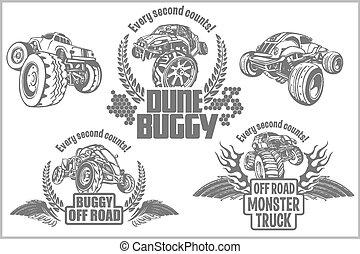 duin buggy, en, monstervrachtwagen, -, vector, badge