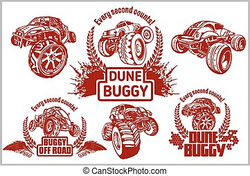 duin buggy, en, monstervrachtwagen, -, vector, badge