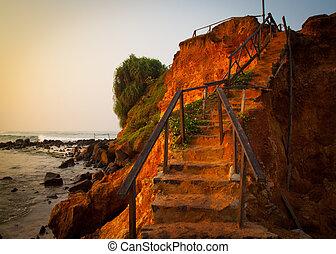 duinen, zand, door, steegjes, strand, sunset.