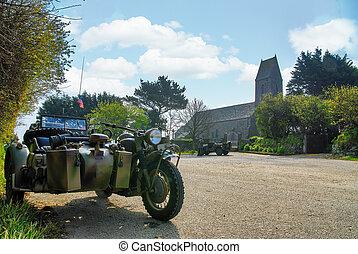 duitser, motorfiets, wereld, kerk, twee, achtergrond, oorlog