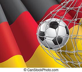 duitser, voetbal, vlag, bal