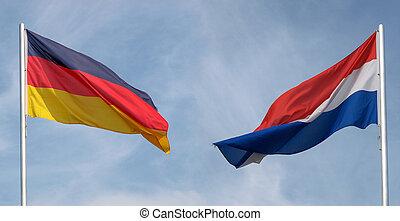 duitsland, en, nederland vlag