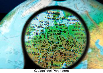duitsland, gezien, op, een, globe, door, de, lens