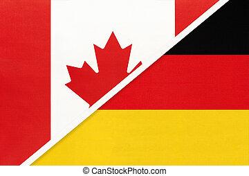 duitsland, kampioenschap, textile., nationale, canada, symbool, twee, countries., vlaggen, tussen