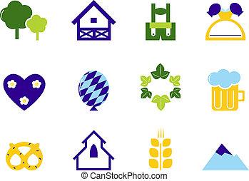 duitsland, &, octoberfest, iconen, en, symbolen, vrijstaand, op wit