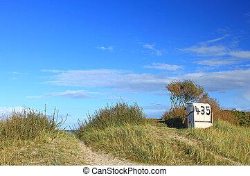 duitsland, stoel, strand, noordzee