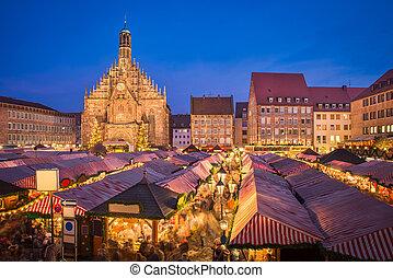 duitsland, weihnachtsmarkt, nuremberg