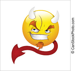 duivel, emoticons, vector, smileygezicht