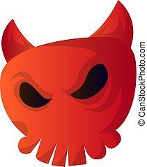 duivel, schedel, vector, achtergrond, illustartion, witte , spotprent, rood
