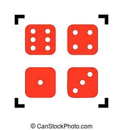 duivels, isolated., hoeken, teken., brandpunt, gebeente, achtergrond., ivories, vector., black , witte , binnen, rood, pictogram