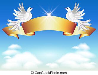 duiven, en, gouden, lint