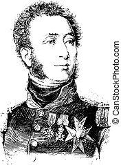 Duke of Angouleme, vintage engraving.