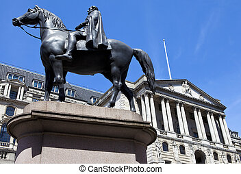 Duke of Wellington Statue and the Bank of England in London...