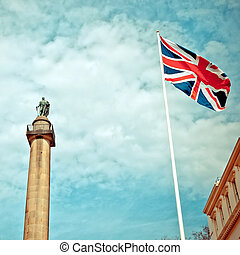 Duke of York Column in London next to Union Jack
