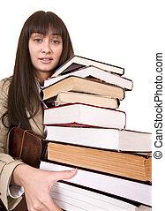 duktig, flicka, med, grupp, book.