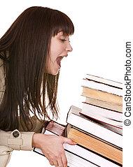 duktig, flicka, med, grupp, gammal, book.