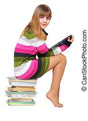 dulce, adolescente, en, el, pila de libros