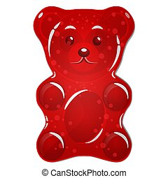 dulce, aislado, oso, fondo blanco, rojo, gomoso