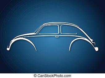 dulce, automóvil, logotipo, encima, azul