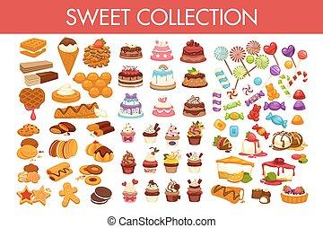 dulce, colección, de, delicioso, postres, y, colorido,...