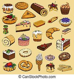 dulce, colección, pasteles