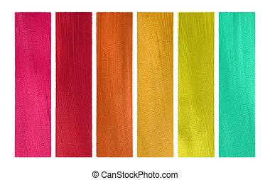 dulce, colores, coco, papel, bandera, conjunto, aislado