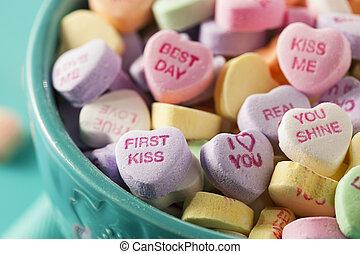 dulce, conversación, corazones, para, día de valentín