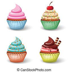 dulce, cupcake, conjunto