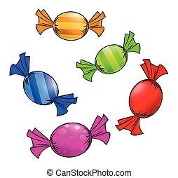 dulce, envuelto, vector, fondo., paper., dulce, navidad, ...