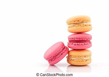 dulce, francés, macaron., macarrones, colorido, o