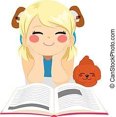 dulce, lectura de la muchacha
