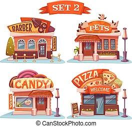 dulce, mascotas, tienda, pizzeria, y, barbershop., vector,...