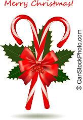 dulce, navidad, rojo, brillante, bastón