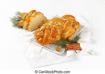 dulce, navidad, trenzado, bread