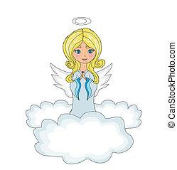 dulce, niña, angel rezar, mientras, arrodillar, en, el, nubes