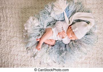 dulce, nido, sueño, bebé recién nacido, niños