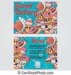 dulce, panadería, menú, tarjeta, diseño, template., vector, illustration.