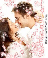 dulce, pareja, con, flores rojas