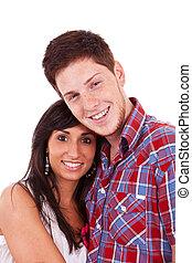 dulce, pareja joven, sonriente, juntos
