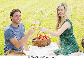 dulce, pareja, picnic, joven, teniendo