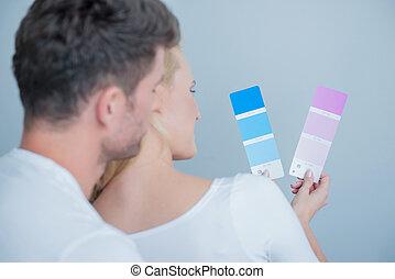 dulce, parejas, el mirar, coloró papel, juntos