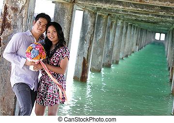 dulce, parejas, fechando, en, playa