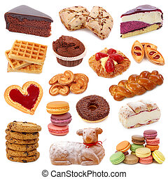 dulce, pasteles, colección