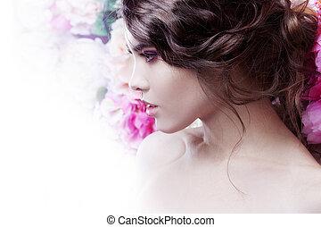 dulce, peinado, niña, moda, sensual., maquillaje, perfil, ...