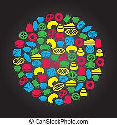 dulce, postres, color, iconos, en, círculo, eps10