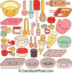dulce, rodillo, estilo, lindo, aislado, mitón, equipo, caricatura, pastel, cacerola, manga, adorable, girly, kawaii, herramienta, colección, encantador, blanco