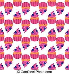 dulce, seamless, patrón, con, cupcakes, en, un, blanco,...