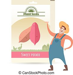 dulce, semillas, paquete, papa